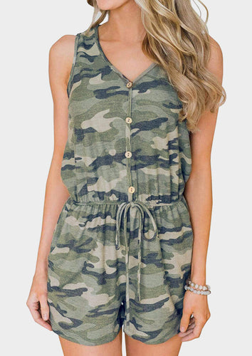 Camouflage Printed Button Drawstring Romper - Army Green