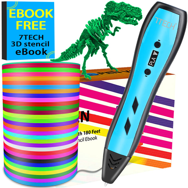 【US Domestic Fulfilled by AMAZON】 7TECH V9 3D  Pen for Kids Auldts with 180 Feet PLA Filament Free 280 Stencil Ebook