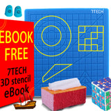 7TECH  3D Pen Mat Silicone Design Mat with 280 Stencils eBook and 2 Silicone Finger Caps Great 3D Pen Drawing Tools