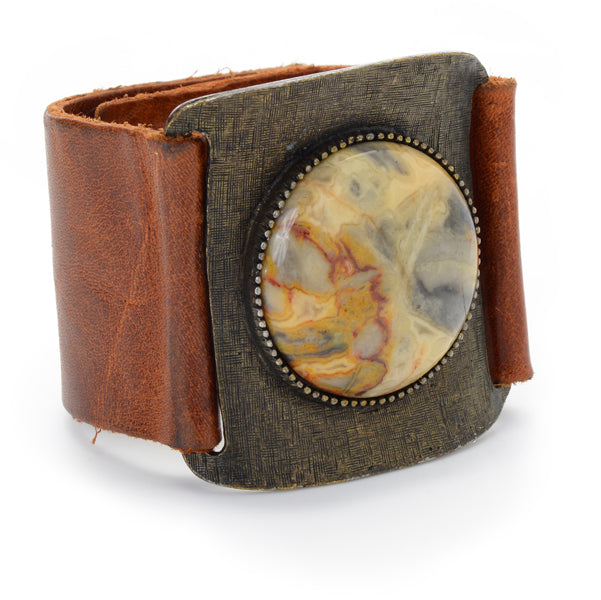 Large Round Cabochon Leather Cuff