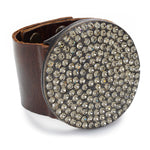 1022 large crystal round disc leather bracelet, vintage brown w black diamond