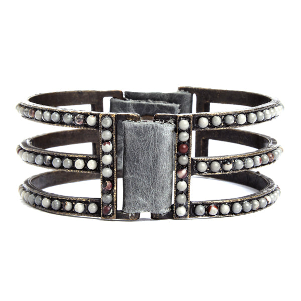 1043 double sided three bar bracelet, grey with multi grey beads