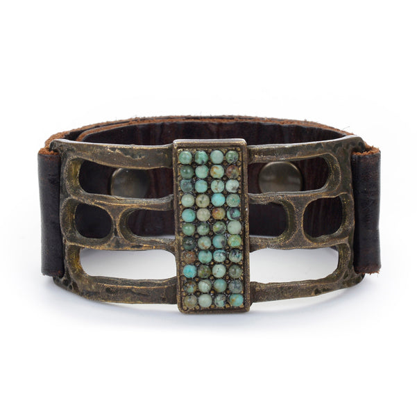 Beaded Open Rectangle Leather Bracelet