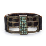1045 rectangle African turquoise leather bracelet