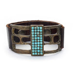 Open Rectangle Leather Bracelet