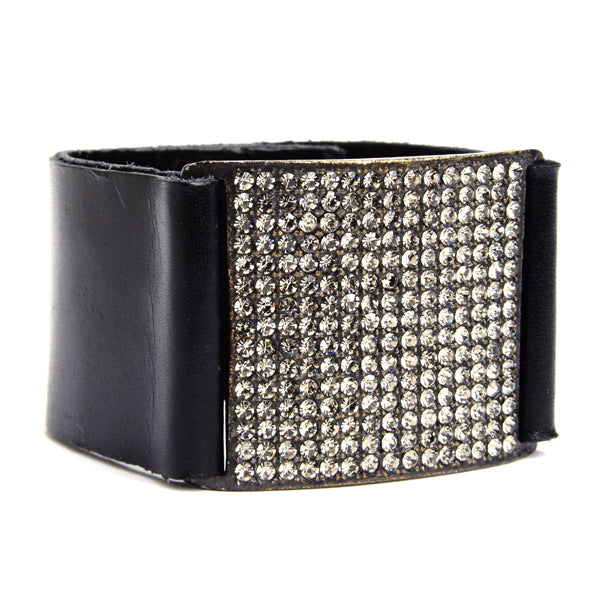 1051 square crystal pave leather bracelet, black w black diamond