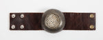 1058 large metal dome crystal and leather bracelet, vintage brown w black diamond
