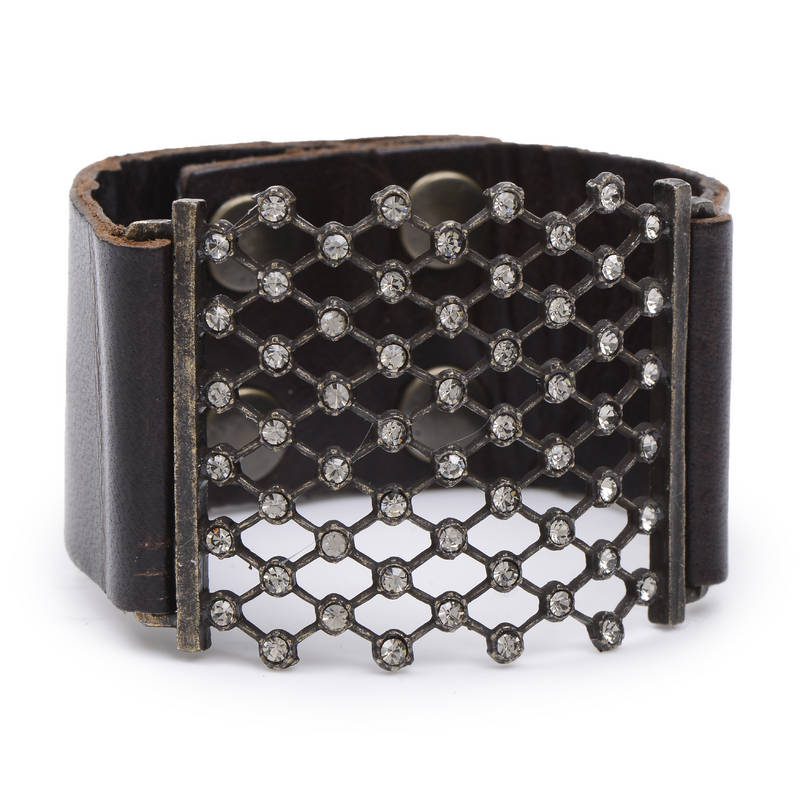 Crystal Mesh Leather Bracelet
