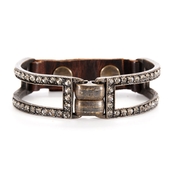 1096 double sided crystal two bar bracelet, vintage brown w black diamond