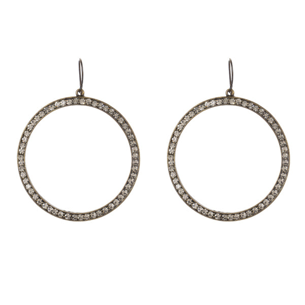 1325 Large open circle earrings, black diamond