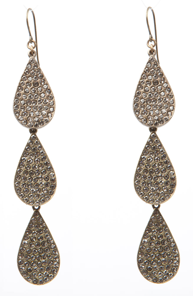 Triple Crystal Teardrop Earrings
