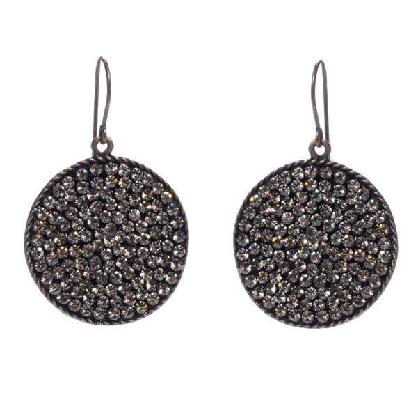 Crystal Round Disc Earrings