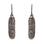 Folded Oval Crystal Drop Earrings