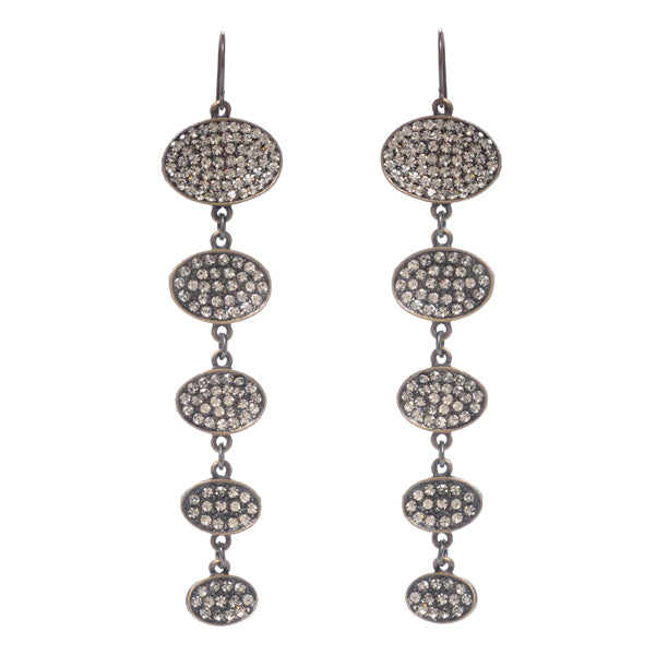 1379 Five oval drop earrings