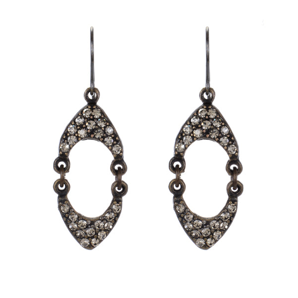 1388 double crown crystal earrings