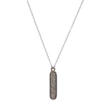 1689 oval crystal bar necklace, black diamond