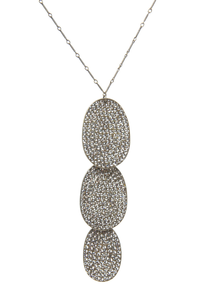 Triple Oval Crystal Drop Necklace