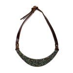 1861 beaded bib necklace, brown with African turq