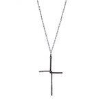 1888 interlocked half crystal cross, black diamond