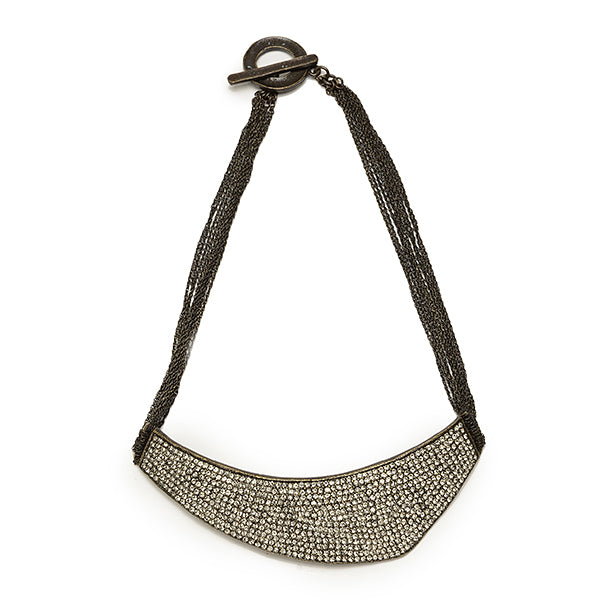 1972 Crystal pave shield necklace