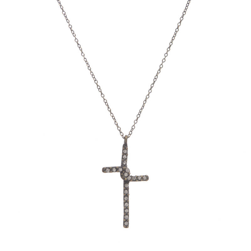 Small Crystal Cross Necklace