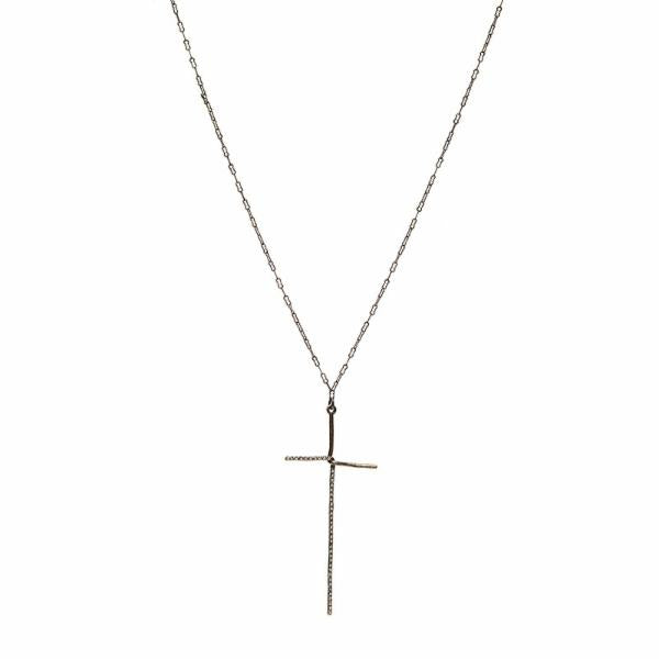 Elongated Crystal Cross Necklace