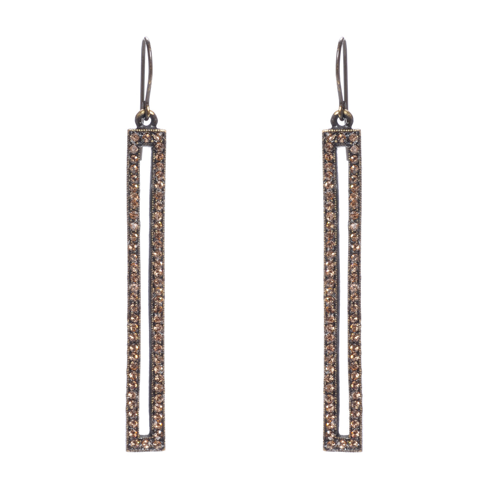 Skinny Rectangle Crystal Earrings