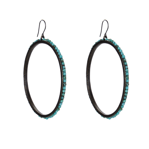 3028 large beaded hoop earrings