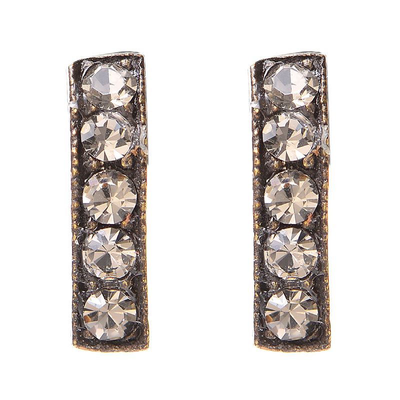 3077 small crystal bar stud earrings