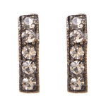 3077 small crystal bar stud earrings, black diamond