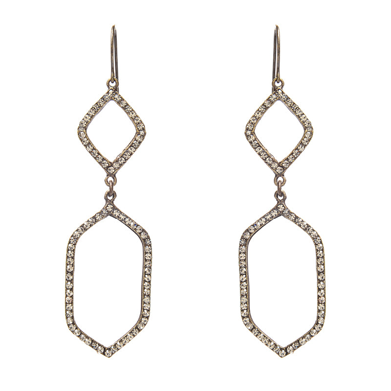 Double Geometric Drop Earrings