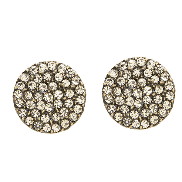 3107 small pave disc stud earrings