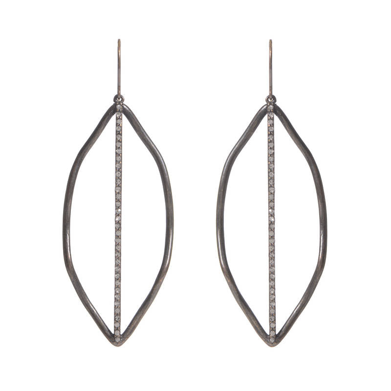 3137 leaf with crystal line earrings