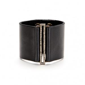 Skinny Rectangle Wide Leather Band Bracelet