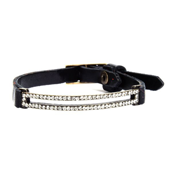 Skinny Pave Rectangle Leather Bracelet