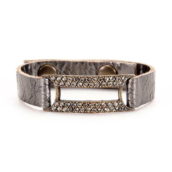 5017 crystal rectangle leather bracelet, grey metallic w black diamond
