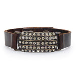 Beaded Rectangle Leather Bracelet