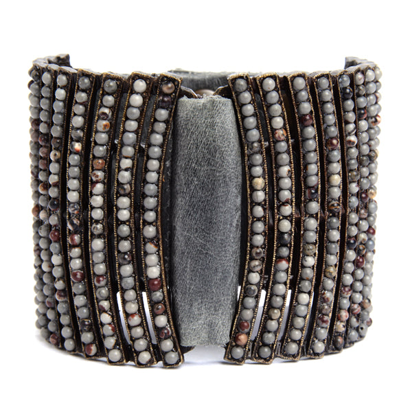 5034 double sided curved bar bracelet, grey w multi grey