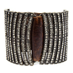 5034 double sided curved bar bracelet, vintage brown w black diamond