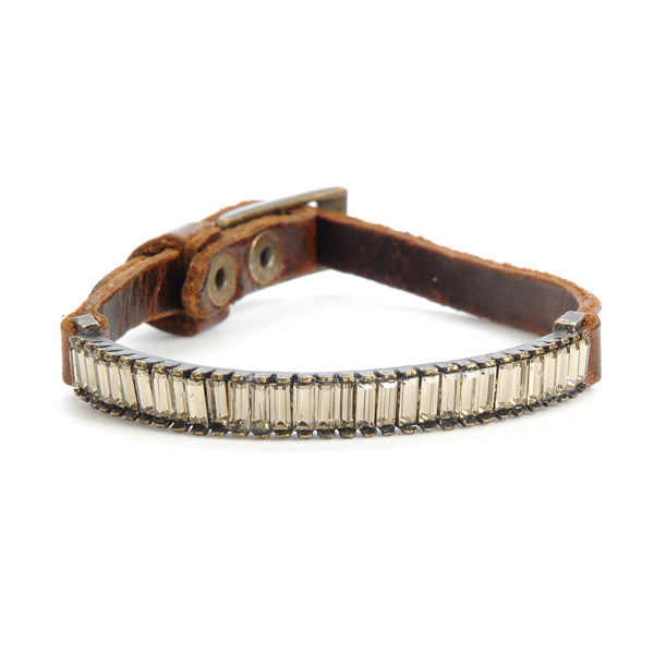 Crystal Baguette Bar Skinny Leather Bracelet