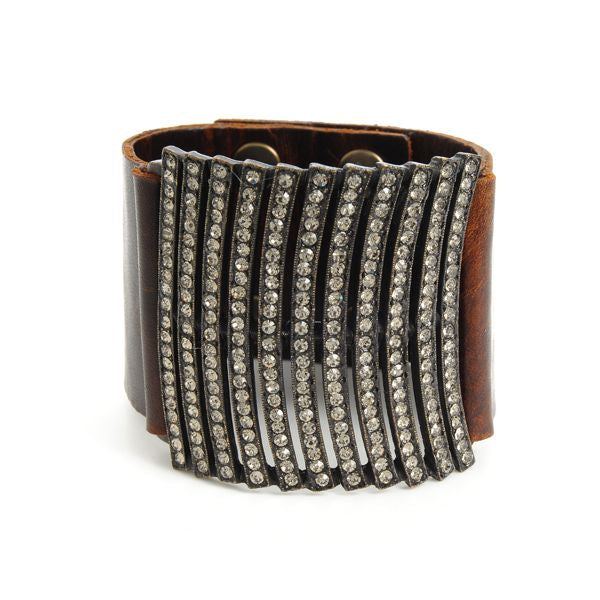 Multi Curve Lined Leather Bracelet