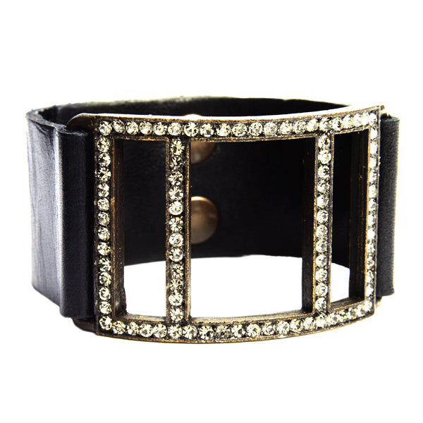 5068 open crystal lined square bracelet, black with black diamond