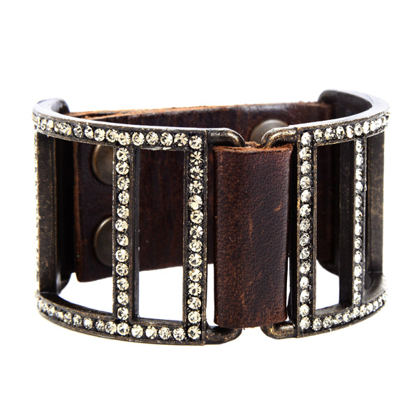 5069 double sided open lined crystal leather bracelet, vintage brown with black diamond
