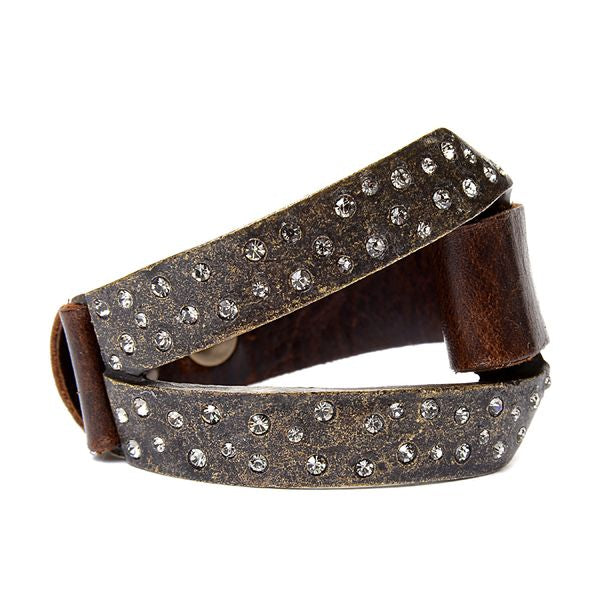Split Metal Crystal and Leather Bracelet