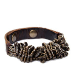 Metal Cluster Leather Bracelet