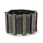 5135 multi crystal bar leather bracelet, grey w black diamond