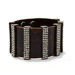 5135 multi crystal bar leather bracelet, vintage brown w black diamond