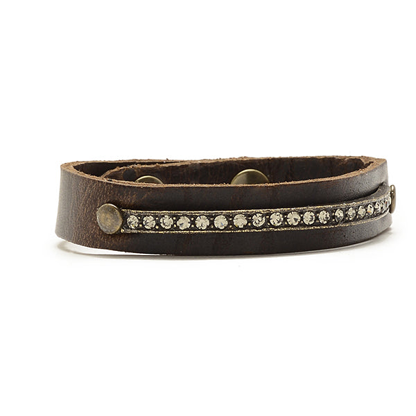 Narrow Leather Band Crystal ID Bracelet