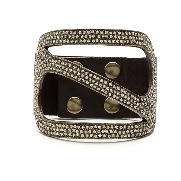 5166 large rectangle bracelet, black w black diamond