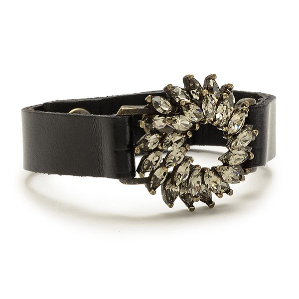 Navette Crystal Flower Leather Bracelet
